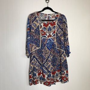 Umgee Blue White Red Floral Boho Tunic Small